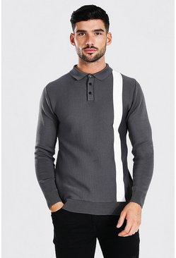 Grey Long Sleeve Muscle Fit Colour Block Knitted Polo