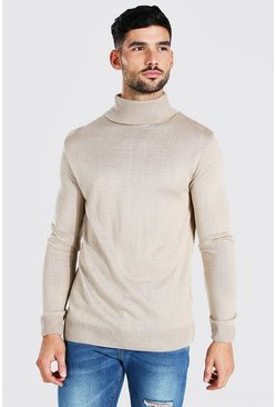 Regular Fit Roll Neck Jumper, Taupe beige