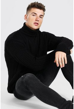 Black Roll Neck Chunky Cable Knit Jumper