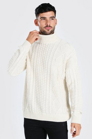 Ecru white Roll Neck Chunky Cable Knit Jumper