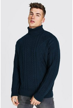 Roll Neck Chunky Cable Knit Jumper, Teal vert
