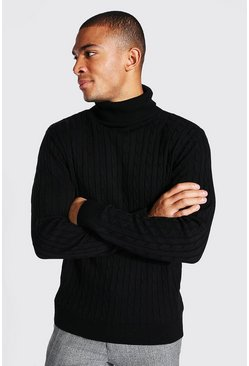 Black Cable Roll Neck Knitted Jumper