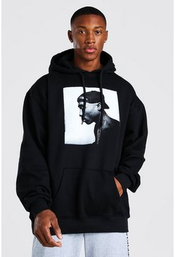 Black Oversized Tupac Photo License Hoodies