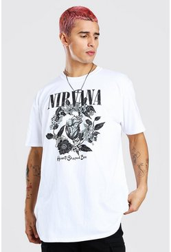 White Oversized Nirvana Rose Print License T-Shirt