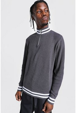 Grey Half Zip Ribbed Funnel Neck Sweater With Stripes
