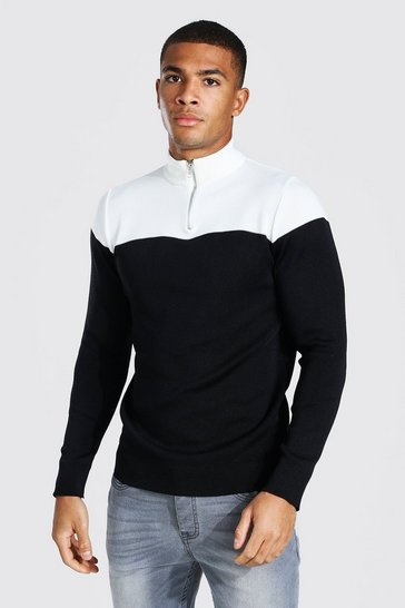 Ecru white Half Zip Colour Block Funnel Neck Jumper