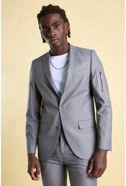 Blue Skinny Plain Ma1 Pocket Suit Jacket