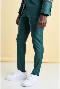Teal green Official Man Gestreepte Skinny Fit Pantalons