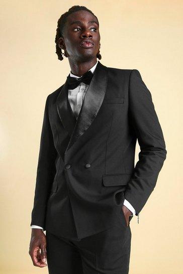 Black Skinny Double Breasted Tuxedo Suit Jacket
