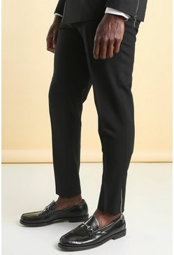 Black Skinny Tuxedo Suit Trouser With Zips