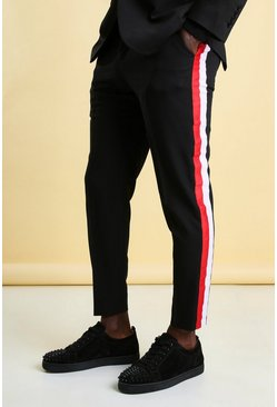 Black Skinny Side Stripe Cropped Suit Trouser