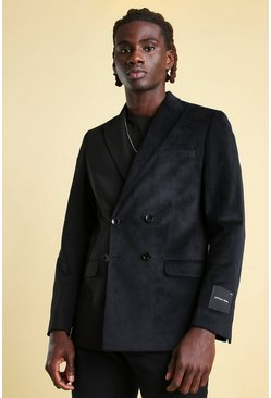 Skinny Spliced Velour Double Breasted Blazer, Black noir