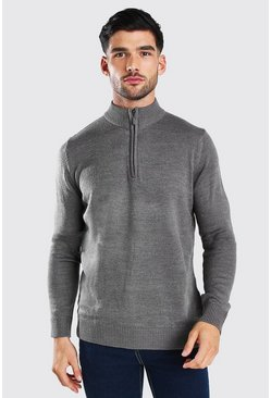 Grey Half Zip Funnel Neck Jumper