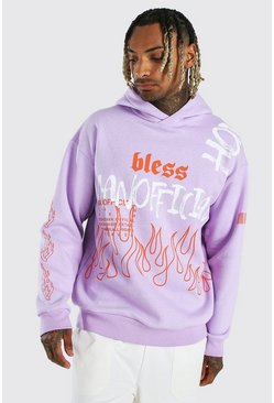 Purple Oversized Official MAN Flame Print Hoodie