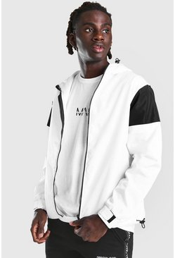 White MAN Official Centre Backprint Colour Block Cagoule