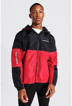 Red Spliced Colour Block Cagoule With Sleeve Detail