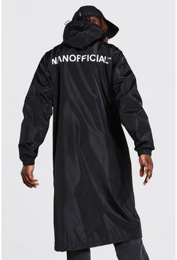 Black Longline Cagoule With MAN Official Back Print