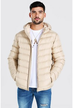Quilted Zip Through Jacket With Hood, Stone Бежевый