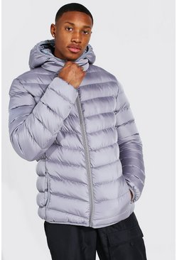 Quilted Zip Through Jacket With Hood, Grey Серый