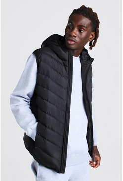 Quilted Gilet With Hood, Black Чёрный