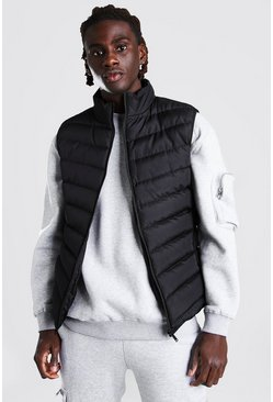 Black Quilted Funnel Neck Gilet