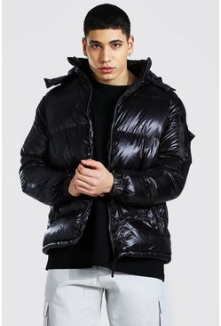 Black Highshine Hooded Puffer Jacket