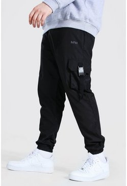 Black Plus Size Man Dash Soft Shell Joggingbroek Met Gesp