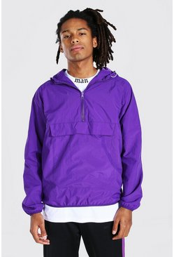 Purple Nylon Front Pocket Overhead with Back print