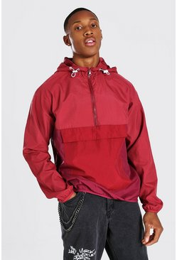 Burgundy red Tonal 3 shade Overhead Front Pocket Cagoule