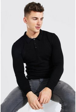 Black Long Sleeve Muscle Fit Knitted Polo