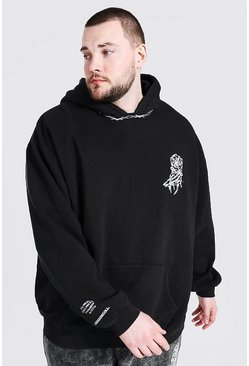 Black Plus Size MAN Overdye Collar Detail Hoodie