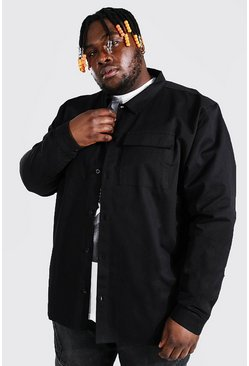 Black Plus Size 2 Pocket Overshirt
