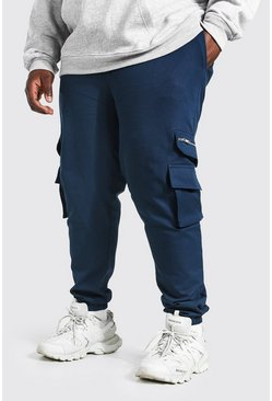 Teal green Plus Size Geweven Cargo Joggingbroek Met Rits Detail