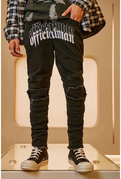 Washed black Skinny Stretch MAN Embroidered Biker Jean