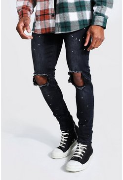 Charcoal grey Skinny Stretch Paint Splatter Exploded Knee Jean