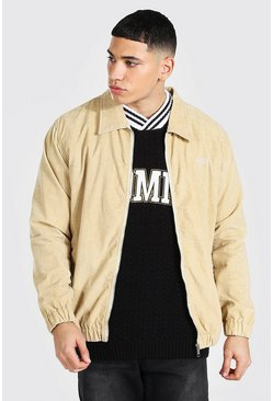 Stone beige Oversized Zip Through Cord Jacket
