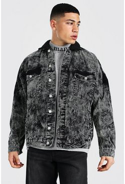 Dark grey grey Oversized Acid Wash Cord Borg Collar Jacket