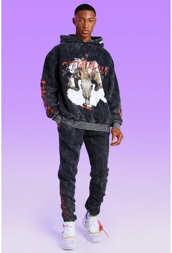 Black Oversized Official Limited Edition Acid Wash Gebleekte Hoodie
