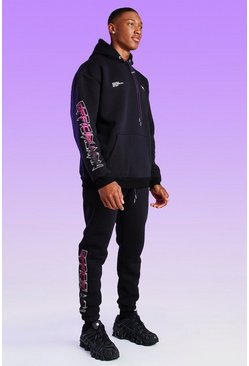 Black Official MAN Print Bungee Cord Jogger