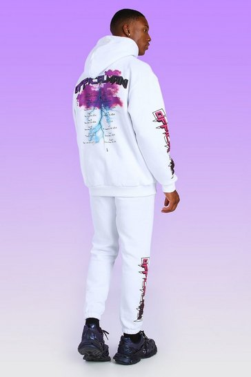 White Oversized Official MAN Graphic Back Print Hoodie