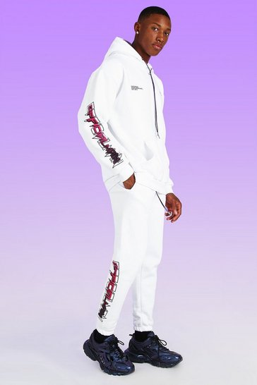 White Official MAN Print Bungee Cord Jogger