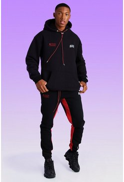 Black Skinny Fit Official Worldwide Bungee Cord Jogger