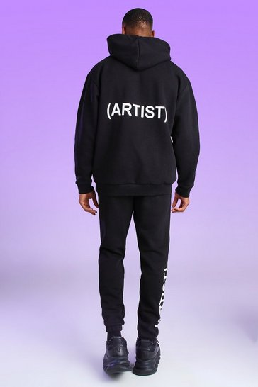 Black Oversized Official Artist Print Hoodie