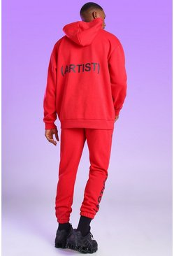 Red Oversized Official Artist Print Hoodie