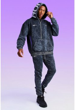 Black Oversized Acid Wash Official Hood Print Hoodie