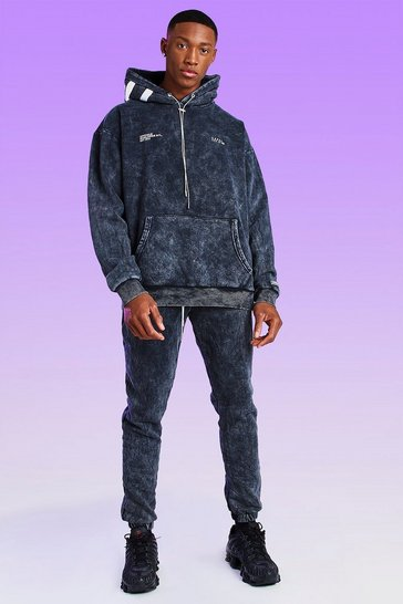 Black Skinny Fit Acid Wash MAN Bungee Cord Jogger