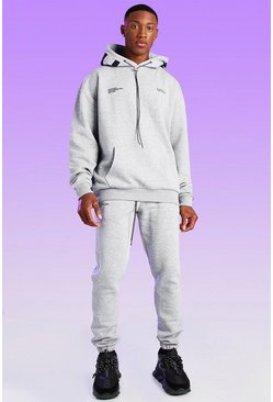 Grey marl grey Oversized Official Hood Print Hoodie