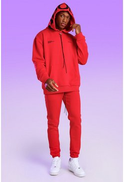 Red Oversized Official Hood Print Hoodie