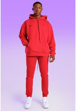 Red Skinny Fit MAN Bungee Cord Jogger