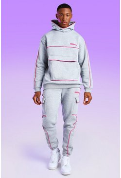 Man Official Snood Hoodie With Pink Piping